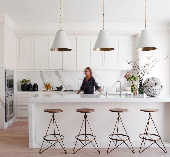 Marble kitchen inspiration large pendant lights