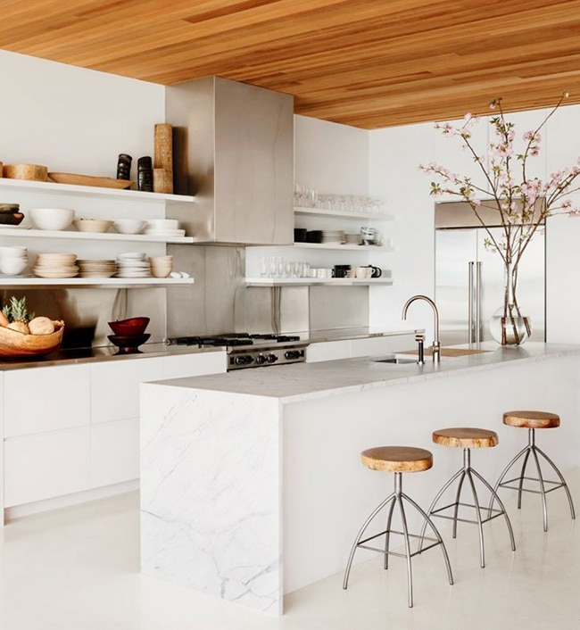 Kitchen inspiration waterfall island marble counters
